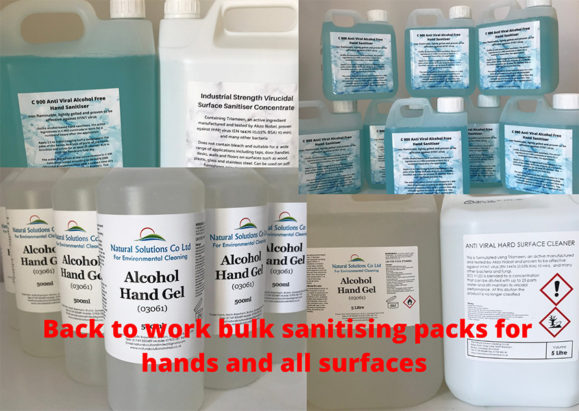 Sanitising products in bulk from Natural Solutions